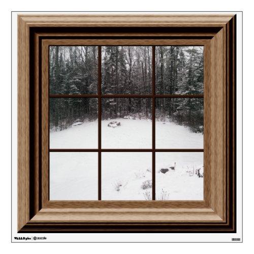 Fake Window View Winter Snow Scene Trees Room Decal