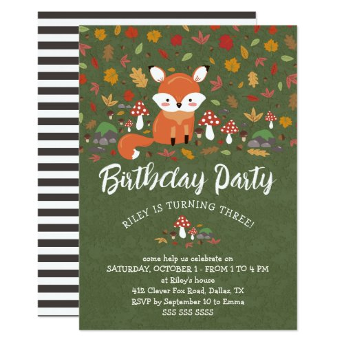 Fall Fox Kids Woodland Birthday Party Invitation