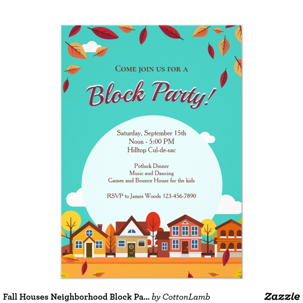 Fall Houses Neighborhood Block Party Invitation