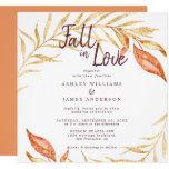 Fall in Love Golden Foliage Autumn Copper Wedding Invitation