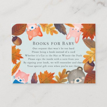Fall Leaves Woodland Animals Blue Book Request Enclosure Card