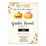 Fall pumpkin gender reveal card invitation