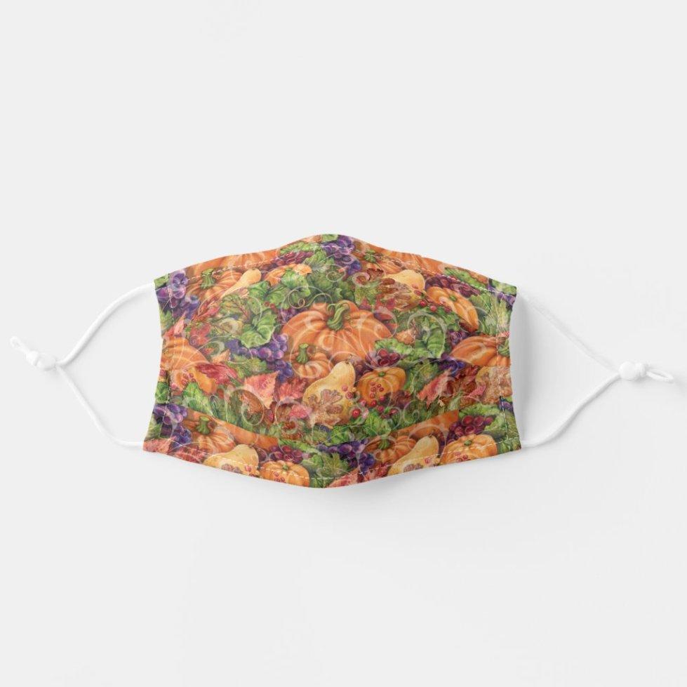 Fall Pumpkin Harvest Cloth Face Mask
