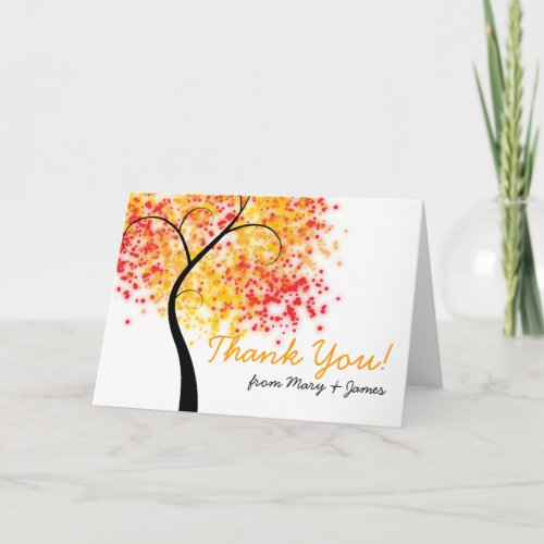 Fall Wedding Swirly Tree &quot&#x3B;Thank you&quot&#x3B; Thank You Card