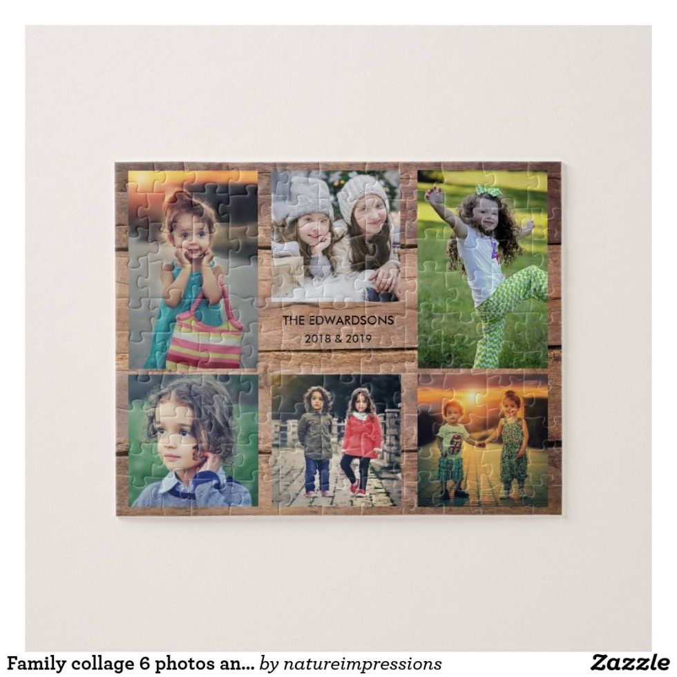 Family collage 6 photos and family name jigsaw puzzle