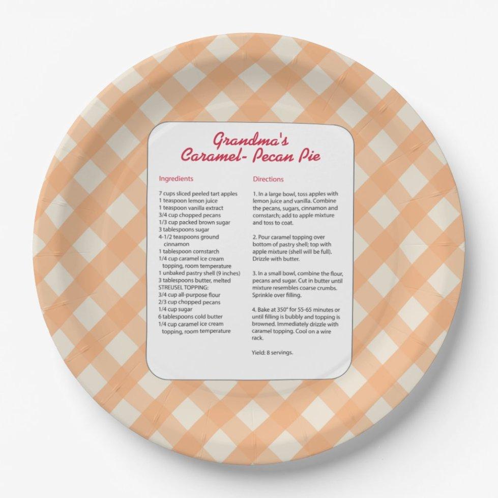 Family Favorite Recipe - Pie Paper Plate