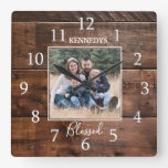 Family Name Photo Rustic Wood  Square Wall Clock