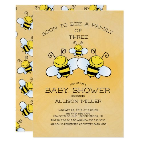Family of 3 Bee Baby Shower Invitation by invitationstop