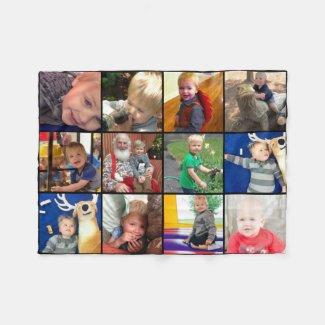 Family Photo Collage 12 Square Instagram Photos Fleece Blanket