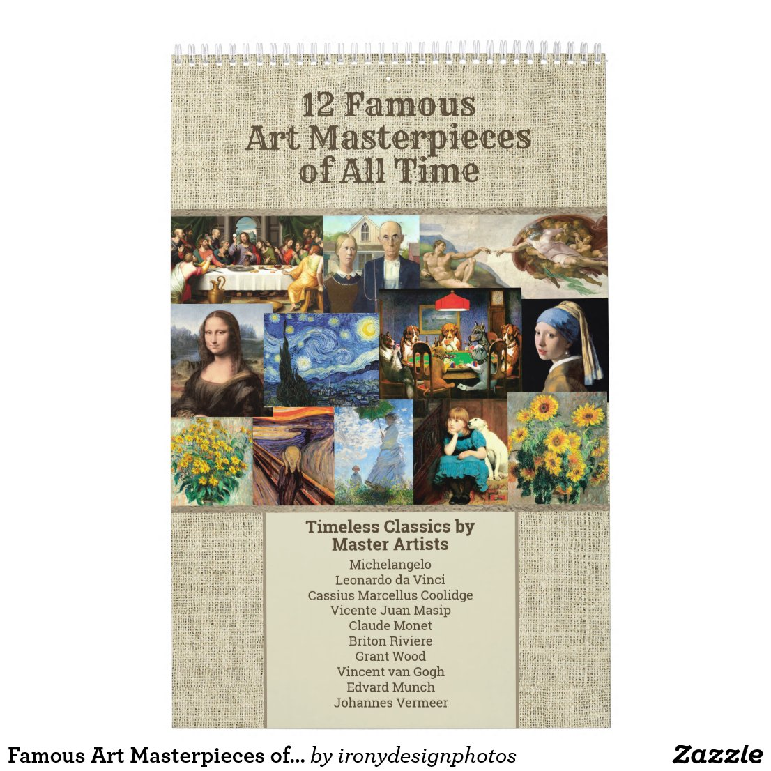 Famous Art Masterpieces of all Time Calendar