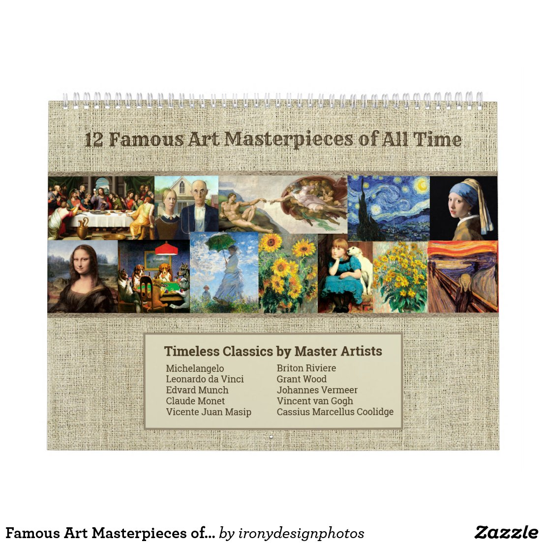 Famous Art Masterpieces of all Time Large Calendar
