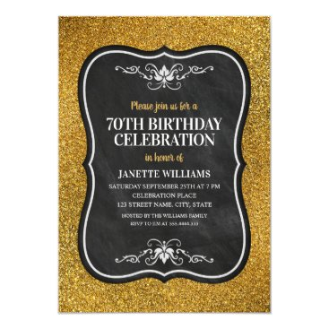 Fancy Golden Glitter Adult 70th Birthday Party Card