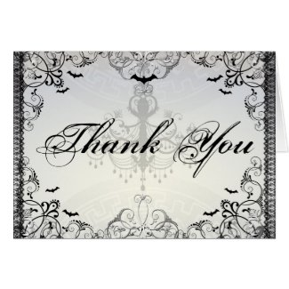 Fancy Gothic Bats Halloween Wedding thank you Greeting Cards