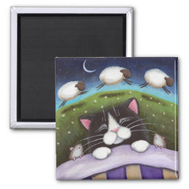 Fantasy Cat and Mouse Art Magnet