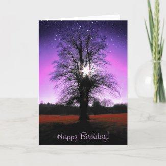 Fantasy Happy Birthday Card with a tree card