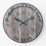 Farm Ranch or Stable Name 7 Custom Barnwood Styled Large Clock