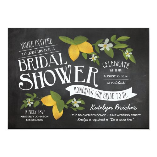 Farm to Table Chalkboard Bridal Shower Invites