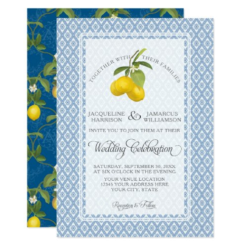 Farmhouse Garden Lemon BOHO Citrus Navy and White Card