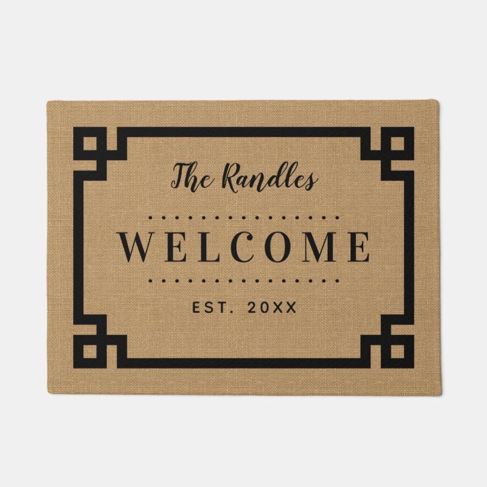 Personalized Farmhouse Greek Key Family Monogram Doormat