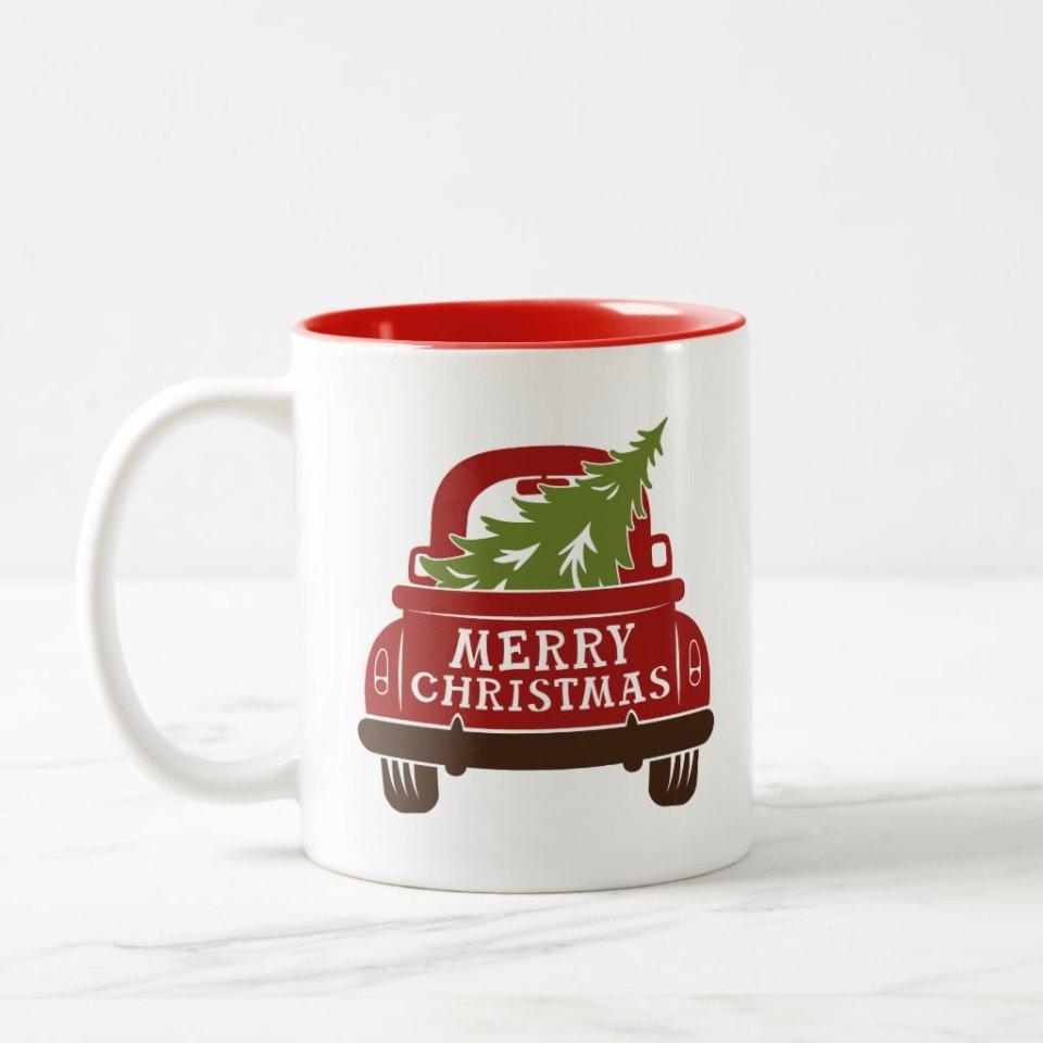 Farmhouse Truck with Christmas Tree Home Decor Mug