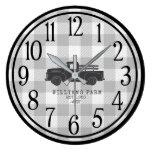 Farmhouse Vintage Truck Grey Buffalo Check Name Large Clock
