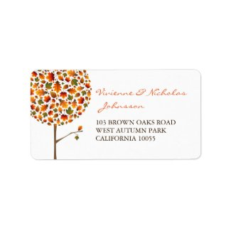 fatfatin Autumn Leaves Pop Tree Address Labels