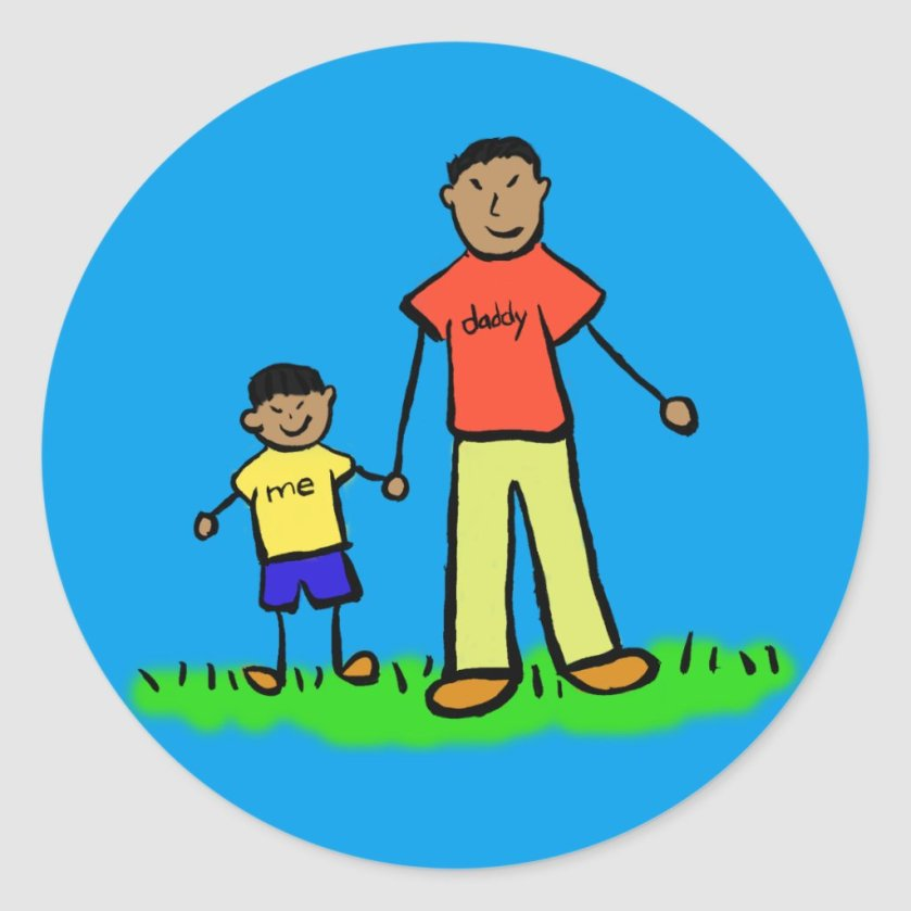 Father and Son Family Characters Custom Stickers