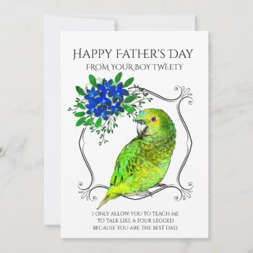 Father's Day From The Parrot Bird On White Holiday Card