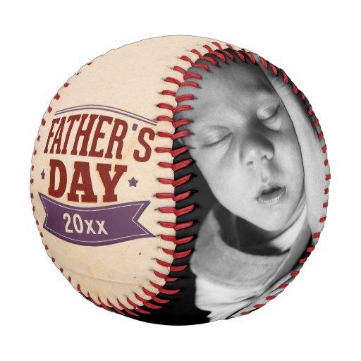 Fathers Day Personalized Photo Custom Baseball | Zazzle