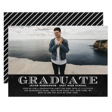 Faux Chalkboard Photo Graduation Party Invitation