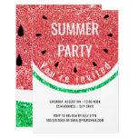 faux glitter watermelon summer party invitation