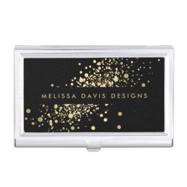 Faux Gold Confetti on Black Modern Card Case