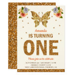 Faux Gold Floral Butterfly First Birthday Party Invitation