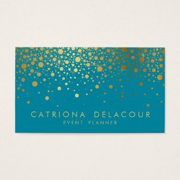 Faux Gold Foil Confetti Business Card | Teal II