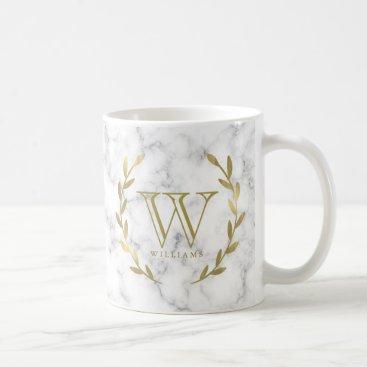 Faux Gold Foil Monogram on Marble Texture Coffee Mug