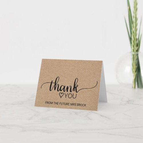 Faux Kraft Calligraphy Bridal Shower Thank You