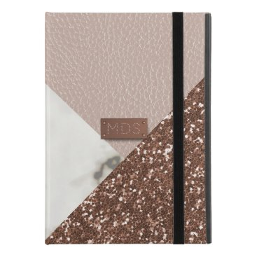 """Faux Marble Rose Gold Glitter iPad Pro 9.7"""" Case"""
