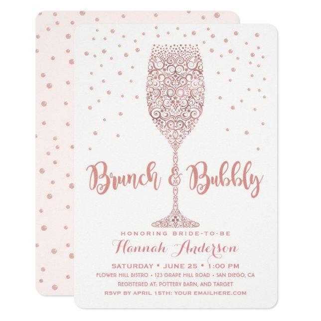 Faux Rose Gold Brunch & Bubbly Bridal Shower Invitation