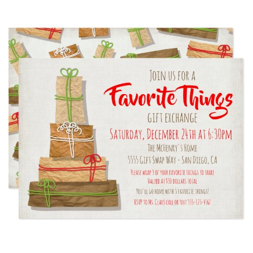 Favorite Things Gift Exchange brown paper packages Invitation