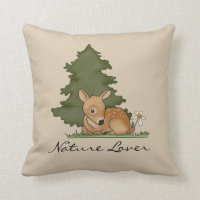 Fawn Deer Forest Cute Art Cartoon Drawing Nature Throw Pillow