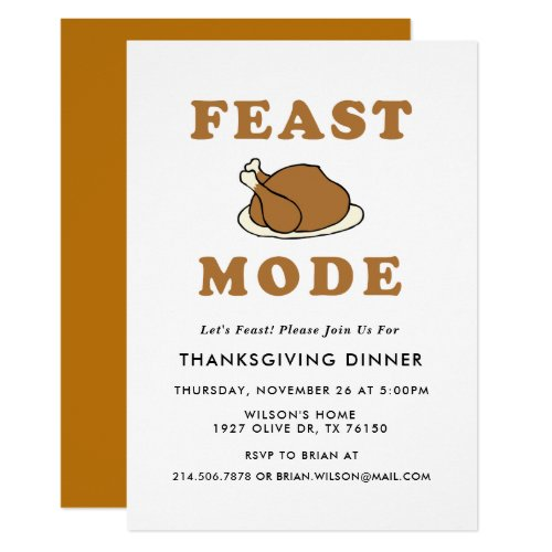 Feast Mode Thanksgiving Dinner Party Invitation