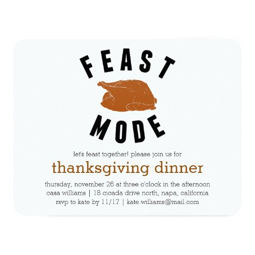 Feast Mode | Thanksgiving Turkey Dinner Invitation