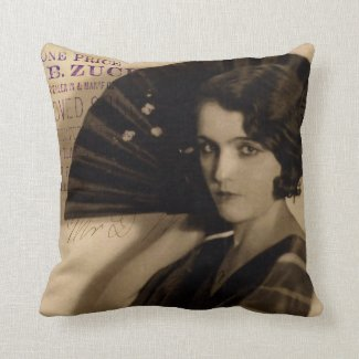 Femme Fatale in Sepia Throw Pillow