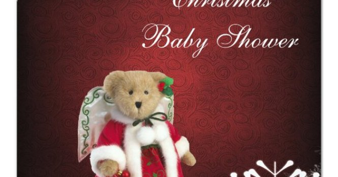 Festive Angel Teddy Bear Christmas Baby Shower Invitation