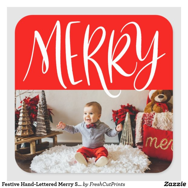 Festive Hand-Lettered Merry Sticker with Photo