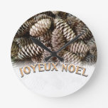 Festive Holiday Joyeux Noel Pine Cone Round Clocks