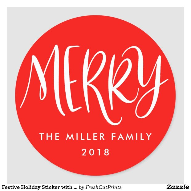 Festive Holiday Sticker with Hand-Lettered Merry