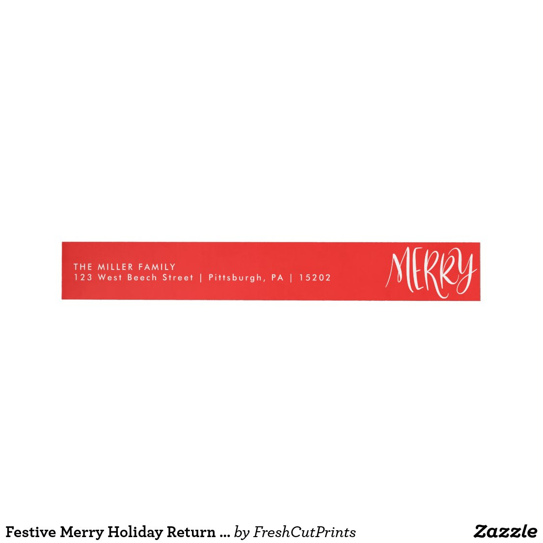 Festive Merry Holiday Return Address Labels
