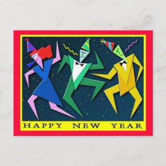 Festive New Year postcard postcard