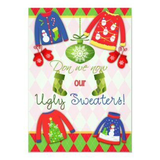 "Festive Ugly Christmas Sweater Party Invitation 5"" X 7"" Invitation Card"